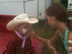 Not all Bullfighters get their facepaint put on by girls...just the ones with game!